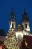 Christmas Tree and Tyn Gothic Church Photographic Print by Richard Nebesky