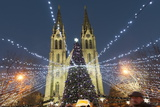Christmas Market and Neo-Gothic Church of St. Ludmila, Mir Square, Prague, Czech Republic, Europe Photographic Print by Richard Nebesky