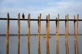 Taung Thama Lake and U Bein Bridge at Amarapura, Mandalay Province, Myanmar (Burma), Asia Photographic Print by  Tuul