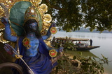 Hindu Statue and the Hooghly River, Part of the Ganges River, West Bengal, India, Asia Photographic Print by Bruno Morandi