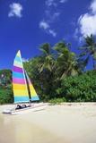 Man Lying on His Sailing Boat at St James Beach, Barbados, Caribbean Papier Photo par John Miller