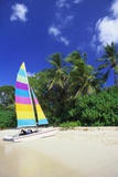 Man Lying on His Sailing Boat at St James Beach, Barbados, Caribbean Photographic Print by John Miller