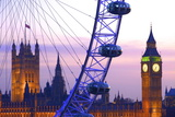 London Eye and Houses of Parliament at Dusk, London, England, United Kingdom, Europe Reprodukcja zdjęcia autor Neil Farrin