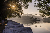 Sunrise at Kandy Lake and the Island Which Houses the Royal Summer House Photographic Print by Matthew Williams-Ellis