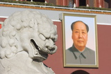 A Lion Statue and Picture of Mao Tse Dong on the Gate of Heavenly Peace Tiananmen Square, Beijing Photographic Print by Christian Kober
