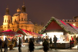 Snow-Covered Christmas Market and Baroque St. Nicholas Church Photographic Print by Richard Nebesky