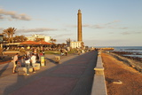 Promenade and Lighthouse Faro De Maspalomas in the Evening Photographic Print by Markus Lange