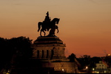Kaiser Wilhelm I Statue at Sunset on Deutsches Eck, Koblenz, Rhineland-Palatinate, Germany, Europe Photographic Print by Charles Bowman