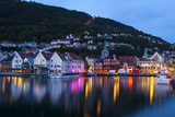 Bergen's Picturesque Bryggen District Illuminated at Dusk Photographic Print by Doug Pearson