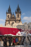 Snow-Covered Christmas Market and Tyn Church, Old Town Square, Prague, Czech Republic, Europe Photographic Print by Richard Nebesky