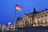 Reichstag and German Flags at Night, Mitte, Berlin, Germany, Europe Photographic Print by Markus Lange