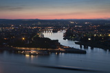 Mosel and Rhine Rivers Converge at Deutsches Eck, Koblenz, Rhineland-Palatinate, Germany, Europe Photographic Print by Charles Bowman