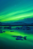 The Northern Lights (Aurora Borealis), Jokulsarlon, South Iceland, Polar Regions Photographic Print by Ben Pipe