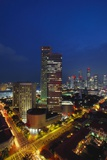 Raffles Hotel at Night and Skyline, Singapore, Asia Photographic Print by Alain Evrard