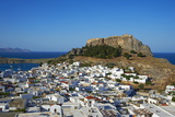 Acropolis and Village, Lindos, Rhodes, Dodecanese, Greek Islands, Greece, Europe Photographic Print by  Tuul
