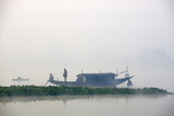 Boat on the Hooghly River, Part of Ganges River, West Bengal, India, Asia Photographic Print by Bruno Morandi