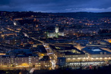 An Aerial View of Central Bath Shows the Abbey and Southgate Development at Dusk Photographic Print by Charles Bowman
