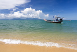 Traditional Long-Tailed Fishing Boat Moored Off Maenam Beach on the North Coast of Koh Samui Photographic Print by Lee Frost