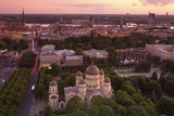 Elevated View at Dusk over Old Town, UNESCO World Heritage Site, Riga, Latvia, Europe Photographic Print by Doug Pearson