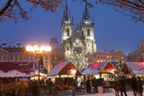 Merry Christmas Sign at Snow-Covered Christmas Market and Tyn Church Photographic Print by Richard Nebesky