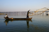 Fisherman on Taung Thama Lake and U Bein Bridge at Amarapura Photographic Print by  Tuul