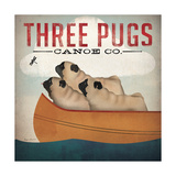 Three Pugs in a Canoe Premium Giclee Print by Ryan Fowler