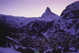 Matterhorn Mountain and Town at Twilight, Zermatt, Switzerland Photographic Print by Gavin Hellier
