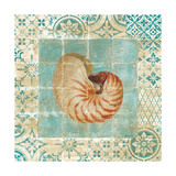 Shell Tiles III Blue Premium Giclee Print by Danhui Nai