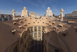 Upper Floor and Roof Chimneys of the Apartment Building Designed by Antonio Gaudi Photographic Print by James Emmerson