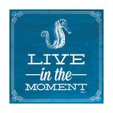 Live in the Moment Blue Premium Giclee Print by Katie Pertiet