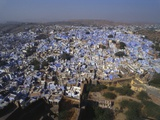 Aerial View of Blue Houses for the Bhrahman, Jodhpur, Rajasthan, India Photographic Print by Robert Harding