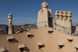 Group of Four Grotesque Chimneys on the Roof of La Pedrera (Casa Mila) Photographic Print by James Emmerson