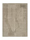 Blueprint Map New York Taupe Giclee-tryk i høj kvalitet af Sue Schlabach