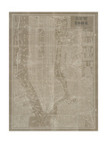 Blueprint Map New York Taupe Premium Giclee Print by Sue Schlabach