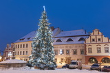 Snow-Covered Christmas Tree and Renaissance Buildings, Jihocesky, Czech Republic, Europe Photographic Print by Richard Nebesky