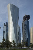 Futuristic Skyscrapers Downtown in Doha, Qatar, Middle East Photographic Print by Angelo Cavalli