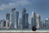 Futuristic Skyscrapers in Doha, Qatar, Middle East Photographic Print by Angelo Cavalli