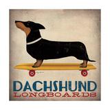 Dachshund Longboards Giclee-tryk i høj kvalitet af Ryan Fowler