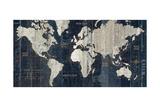 Old World Map Blue Reproduction giclée Premium par Hugo Wild