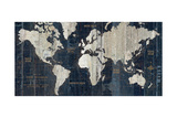 Old World Map Blue Impressão giclée premium por Hugo Wild