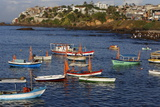 Fishing Boats at Sea During Lemanja Festival on Rio Vermelho Beach Photographic Print by  Godong