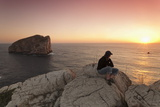 Capo Caccia and Cala Inferno at Sunset, Provinz Nurra, Sardinia, Italy, Mediterranean, Europe Photographic Print by Markus Lange