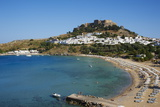 Acropolis and Village, Lindos Beach. Lindos, Rhodes, Dodecanese, Greek Islands, Greece, Europe Photographic Print by  Tuul