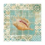 Shell Tiles II Blue Premium Giclee Print by Danhui Nai