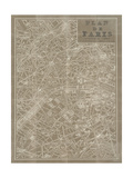 Blueprint Map Paris Taupe Premium Giclee Print by Sue Schlabach