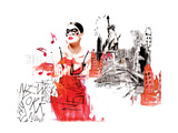 Girl in New York City Giclee Print by Nicole Quattrocki