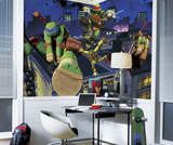 Teenage Mutant Ninja Turtles Cityscape Chair Rail Prepasted Mural Wall Mural