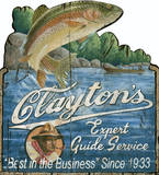 Clayton's Expert Fishing Guide Service Vintage Wood Sign Wood Sign