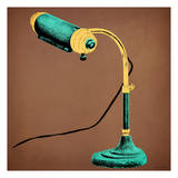 Teal Desk Lamp Art by Tina Carlson