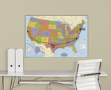 USA Map Dry Erase Peel and Stick Giant Wall Decal Wall Decal